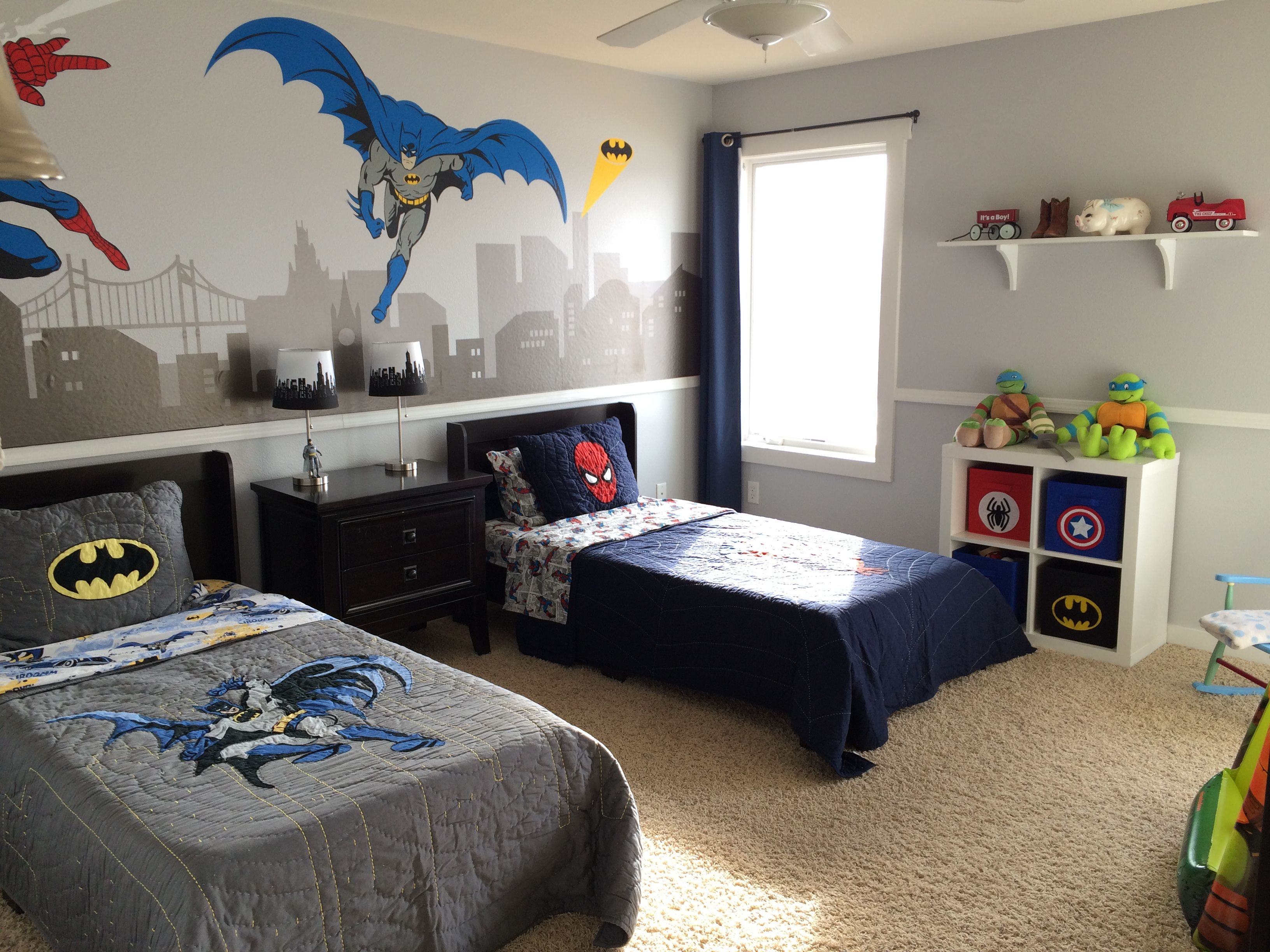 Superhero Room - cityscape lamps from Walmart, Superhero Toy Bins ...