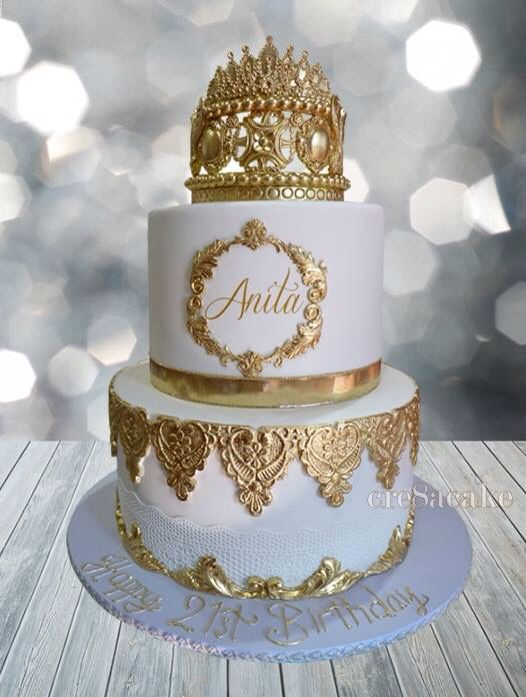 21st Gold White Birthday Cake With Images Birthday Cake For