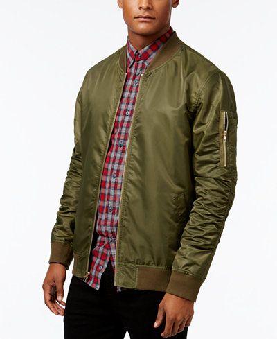 Jaywalker Men's Ruched Nylon Olive Bomber Jacket | Fashion
