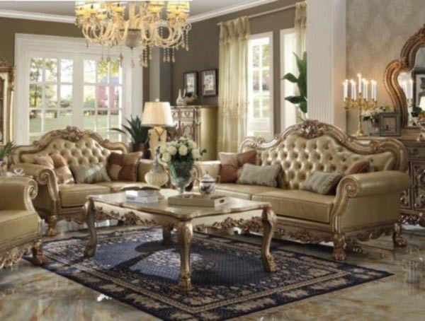 Acme Furniture - Dresden 2 Piece Sofa Set in Gold Patina - 53160-S - barock mobel versailles sofa