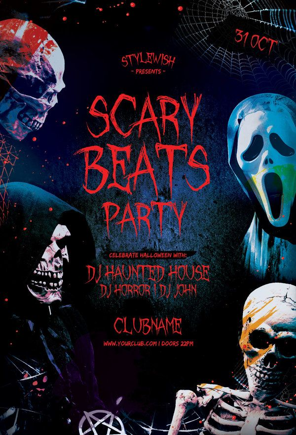 Scary Beats Party Flyer Halloween poster, Spooky