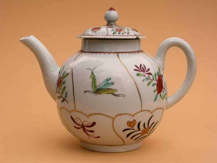 https://flic.kr/p/um914h   Teapot decorated with insects and flowers   Soaprock porcelain teapot decorated in Queen's pattern with gilt compartments containing flower sprigs and insects, attribbuted to Richard Chaffers and Co, Shaw's Brow, Liverpool circa 1760. HMCMS:DA2006.16 DPABOU82