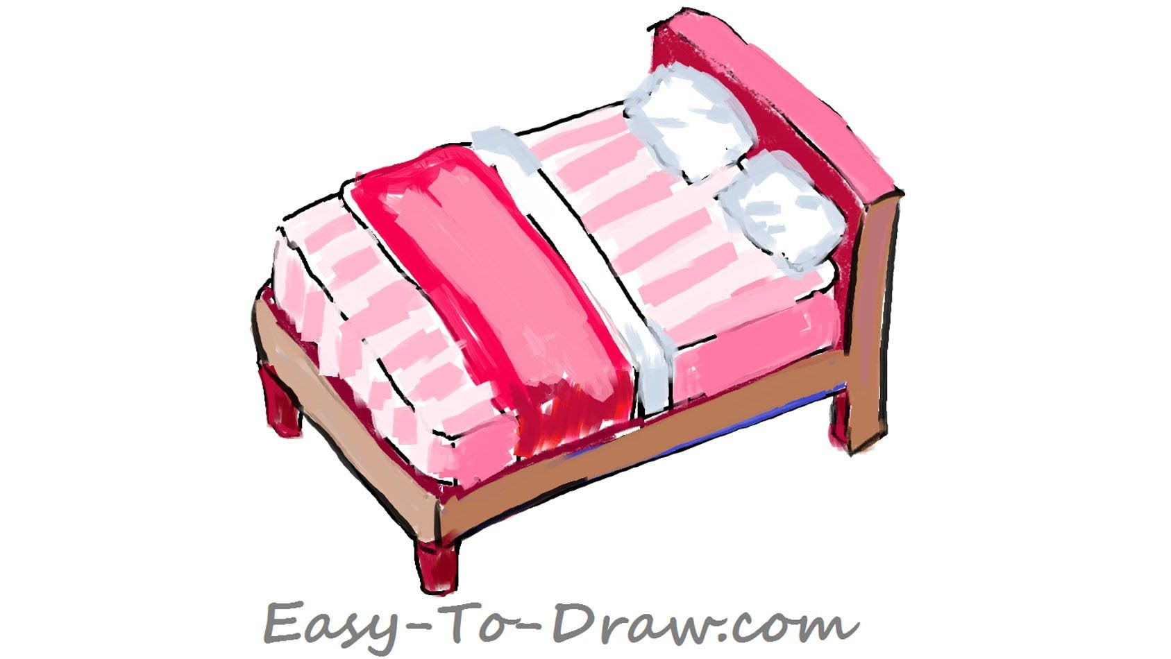 draw a cartoon pink bed with pillows