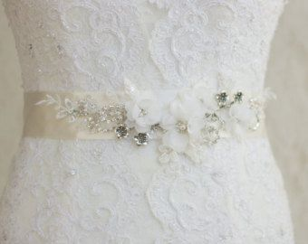 Floral Bridal Sash Wedding Dress Belt Sash Wedding Ivory Belt Sash