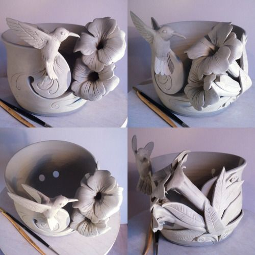 Hummingbird yarn bowl. Unfired. As you would expect …this custom bowl will be brightly glaze coloured in due course. Another photo to follow.  earthwoolfire.etsy.com earthwoolfire@gmail.com