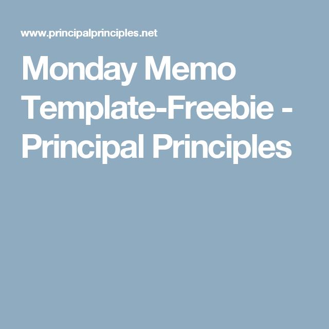 Monday Memo TemplateFreebie  Principal Principles  Principal