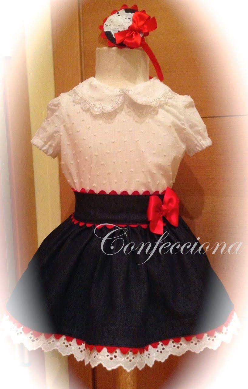 8f2c17894 Conjunto de blusa y falda vaquera. Conjunto de blusa y falda vaquera  Vestidos De Niñas ...