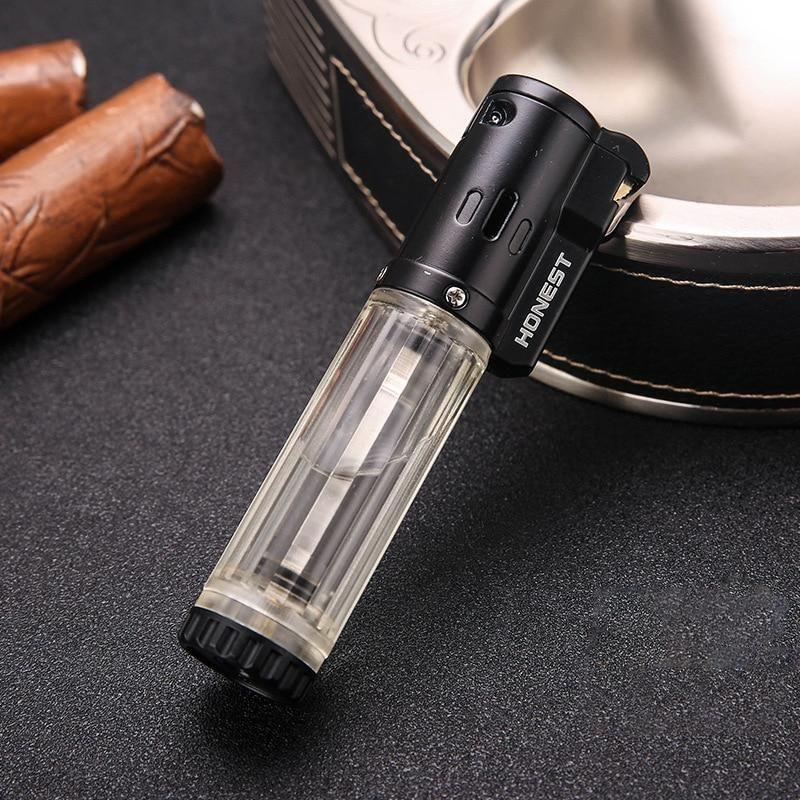 HONEST Gas Lighter Lighters Smoking Accessories Blue Flame Butane Torch Lighter Cigarettes Lighter Gadgets For Men 2020 New - Transparent
