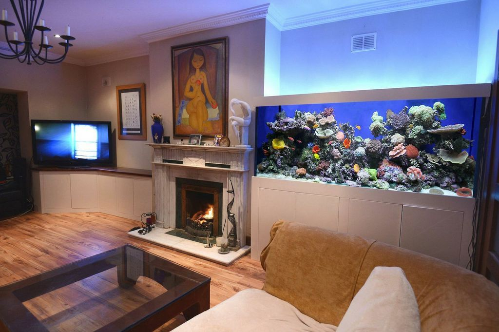 fish tank next to the fireplace