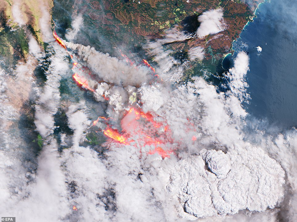 Photos from space show Australia's east coast alight in