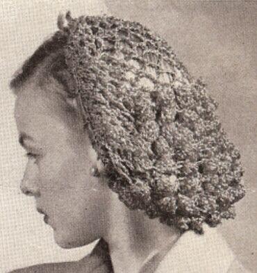 Vintage Pattern Crochet Snood Hairnet Hair Net Fishnet