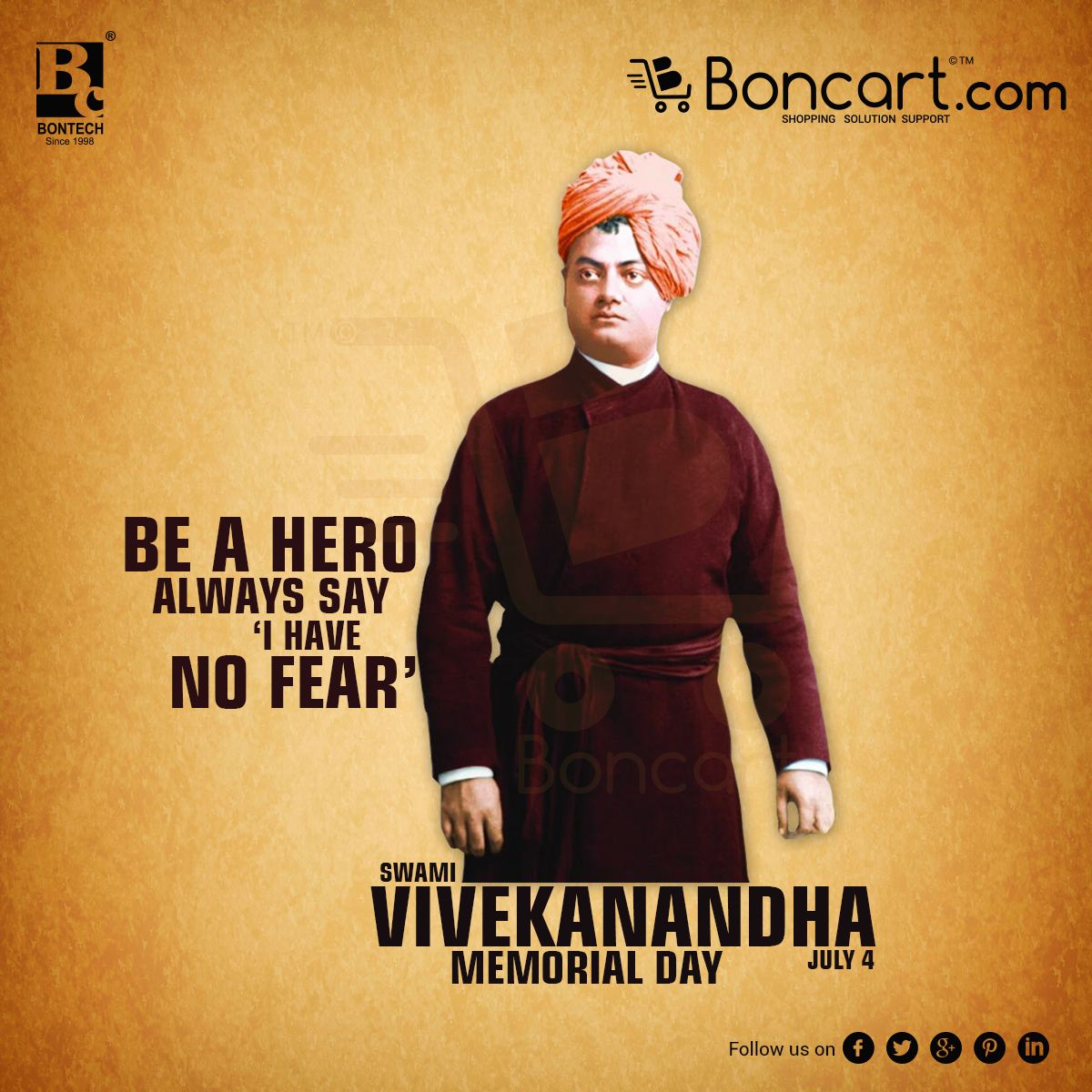 Swami Vivekanandha Memorial Day July 4 Be A Hero Always Say I Have No Fear Memorial Day Memories Hero
