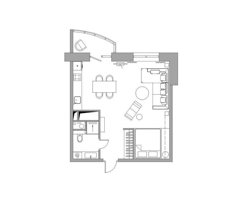 Apartment designs for a small family young couple and a for Small condo plans
