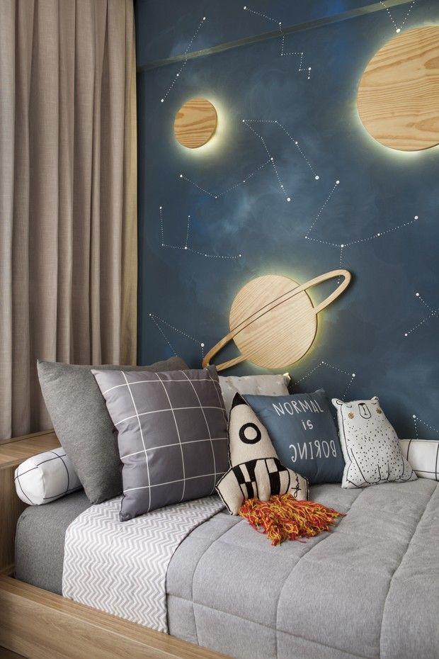 Décor do dia: quarto de irmãos com temática espacial