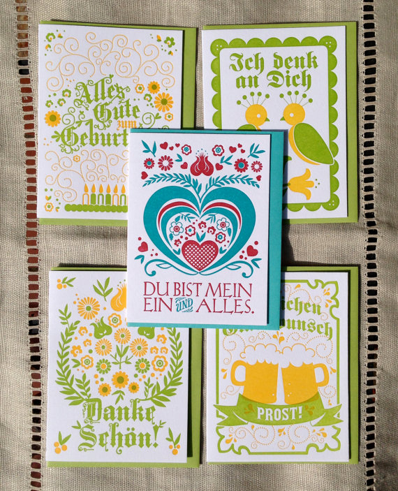 Letterpress German Birthday Card Alpine Green And Yellow Party