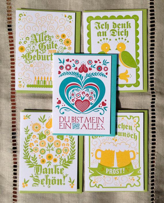 Letterpress German Birthday Cards Party Ideas Misc Pinterest