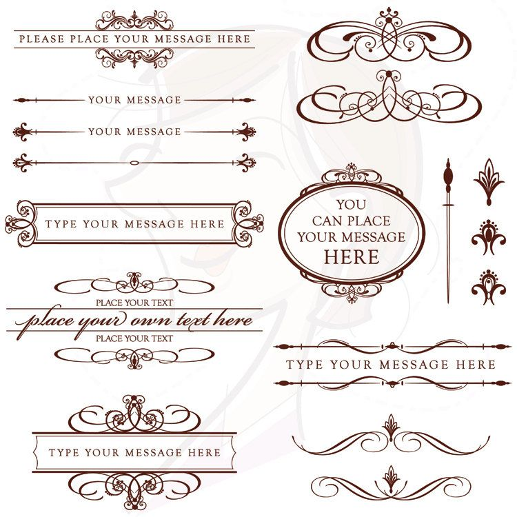 Diy Wedding Invitations Clip Art Chocolate Dark Brown Calligraphy Retro Page Decorations Text Divider Oval Digital Frames Png Files 10373