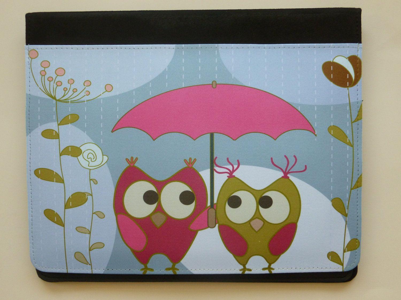 iPad Caso 3 / iPad 2 corujas caso sob guarda-chuva de CreateItYourWay