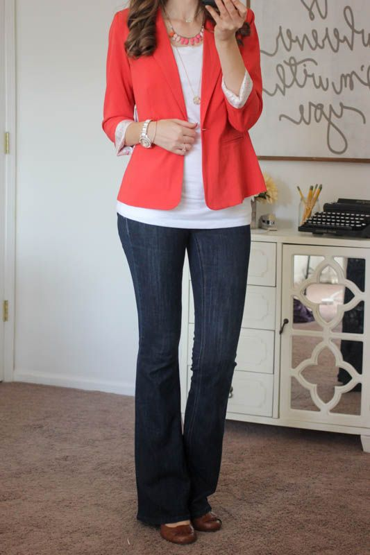 Love the blazer, the color is pretty for fall. It would look good with jeans or dressier pants. Love it! Lisa