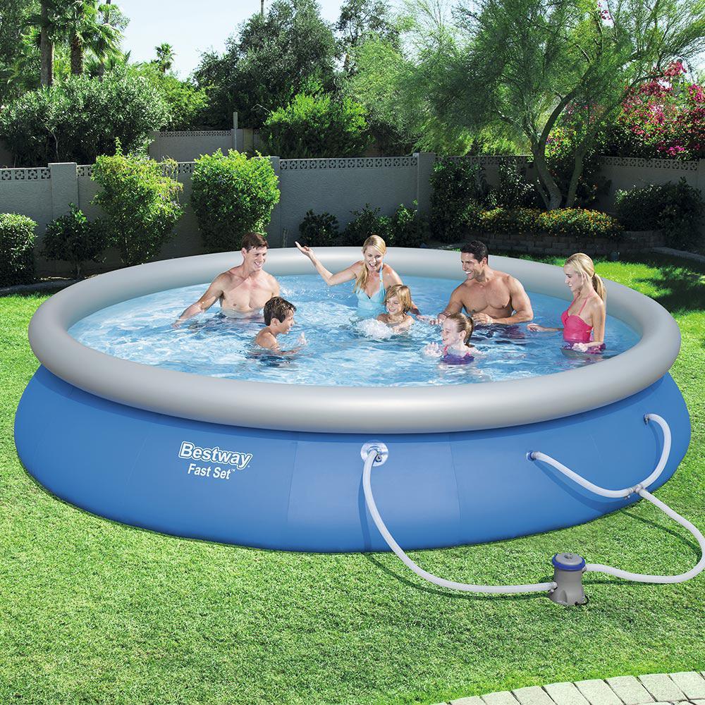 Bestway Fast Set 15 ft. Round x 33 in. Deep Inflatable Pool ...