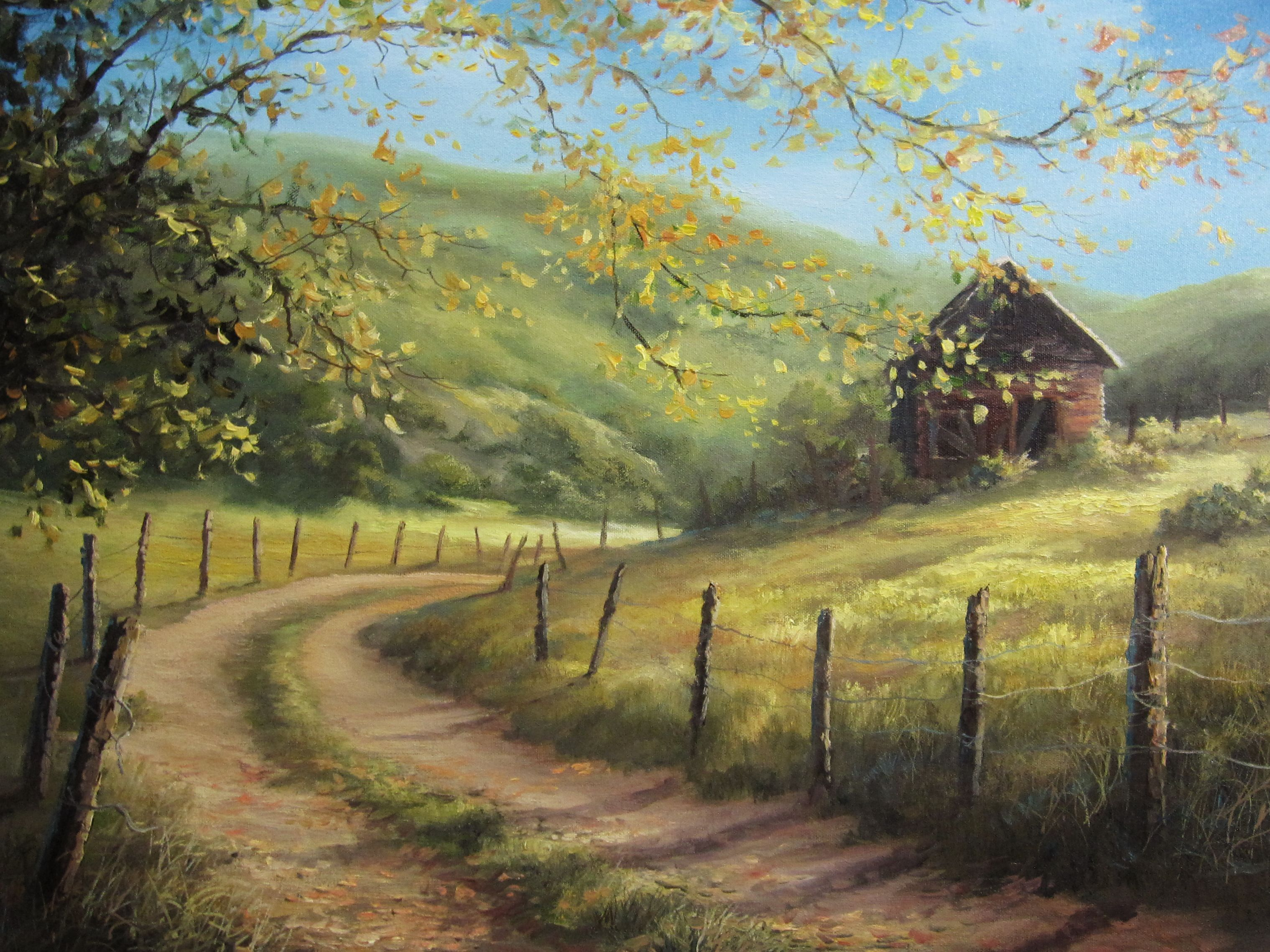 """""""Cabin on the Hilltop"""" Oil Painting by Kevin Hill Watch"""