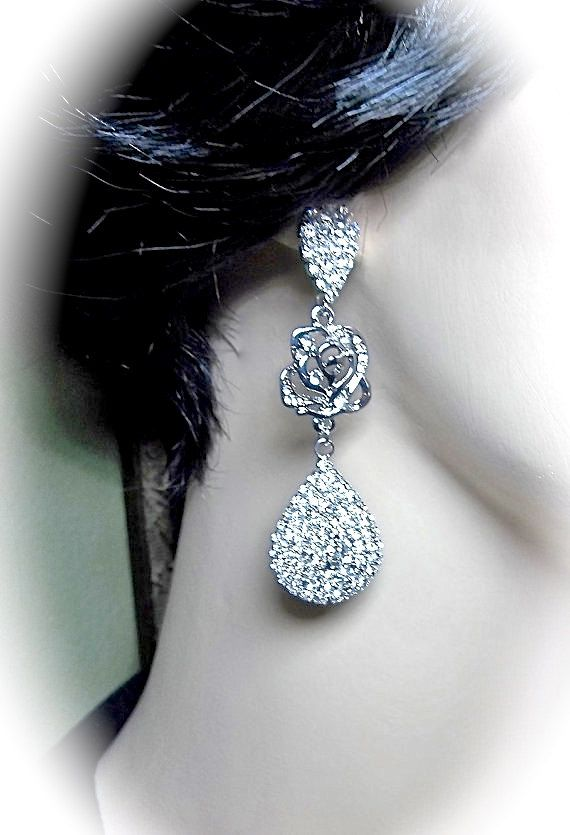 Long crystal rhinestone rose earrings  by QueenMeJewelryLLC