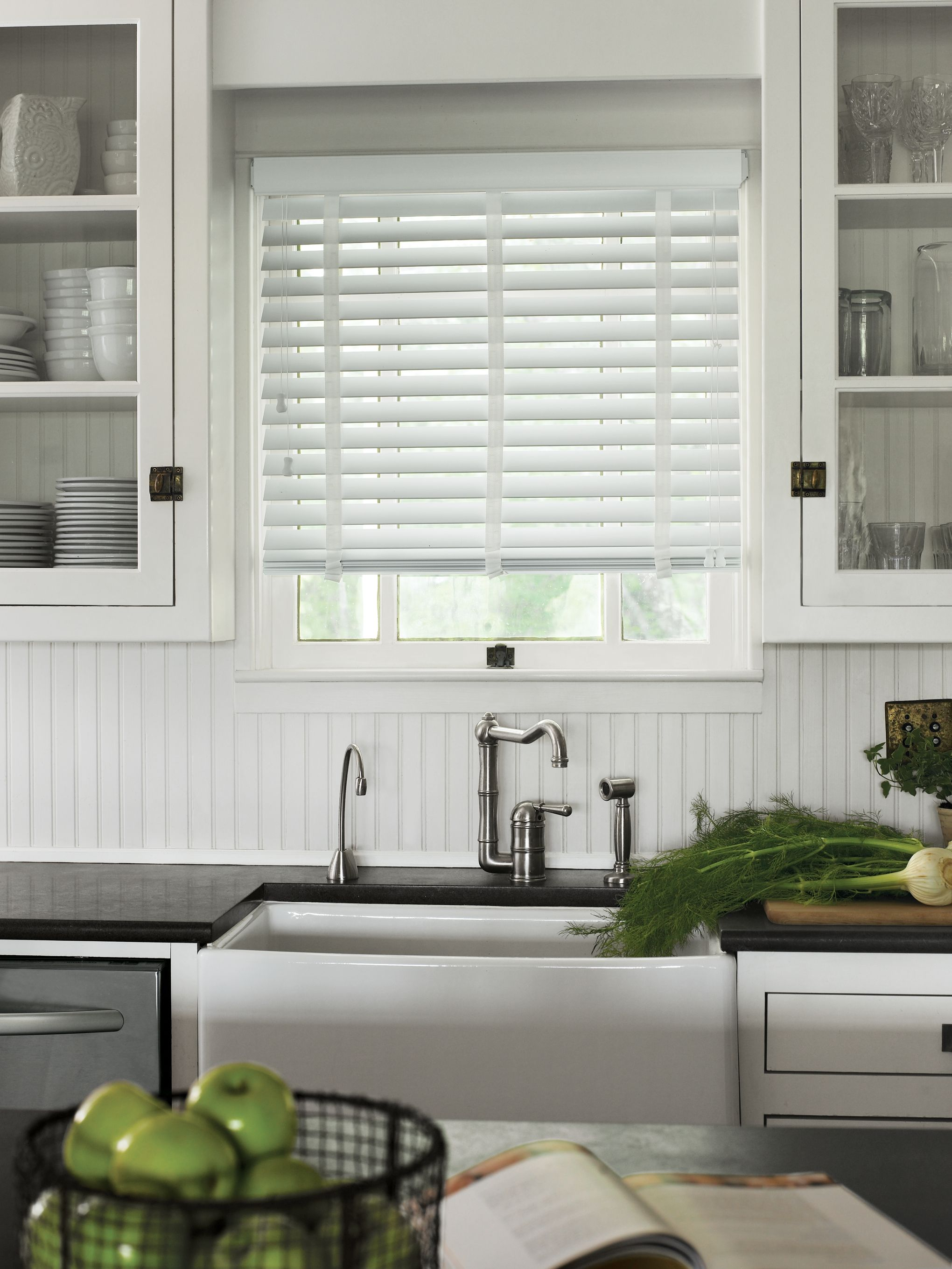 White Timber Blinds Wood Blinds Blinds Kitchen Window Treatments With Blinds