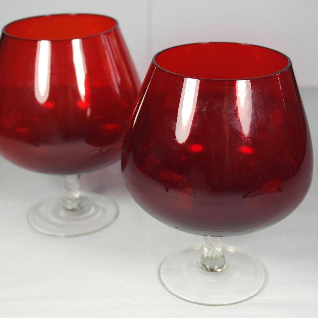 Retro Ruby Red Brandy Glasses Ruby Red Brandy Glass