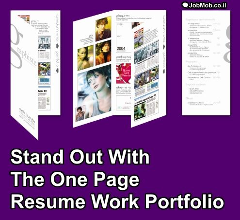 Stand Out With The One Page Resume Work Portfolio Resume work - resume for work