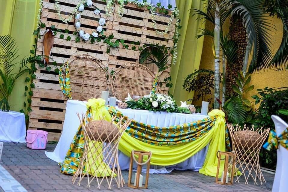 Décoration mariage coutumier Kinshasa 🇨🇩 Table des mariés