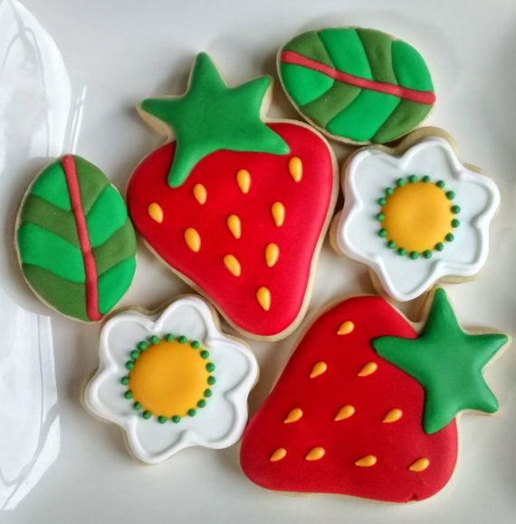 Strawberry, honey bees,leaves and flowers sugar cookies decorated with royal icing ,mini cookies,birthday, get well,Mother's day