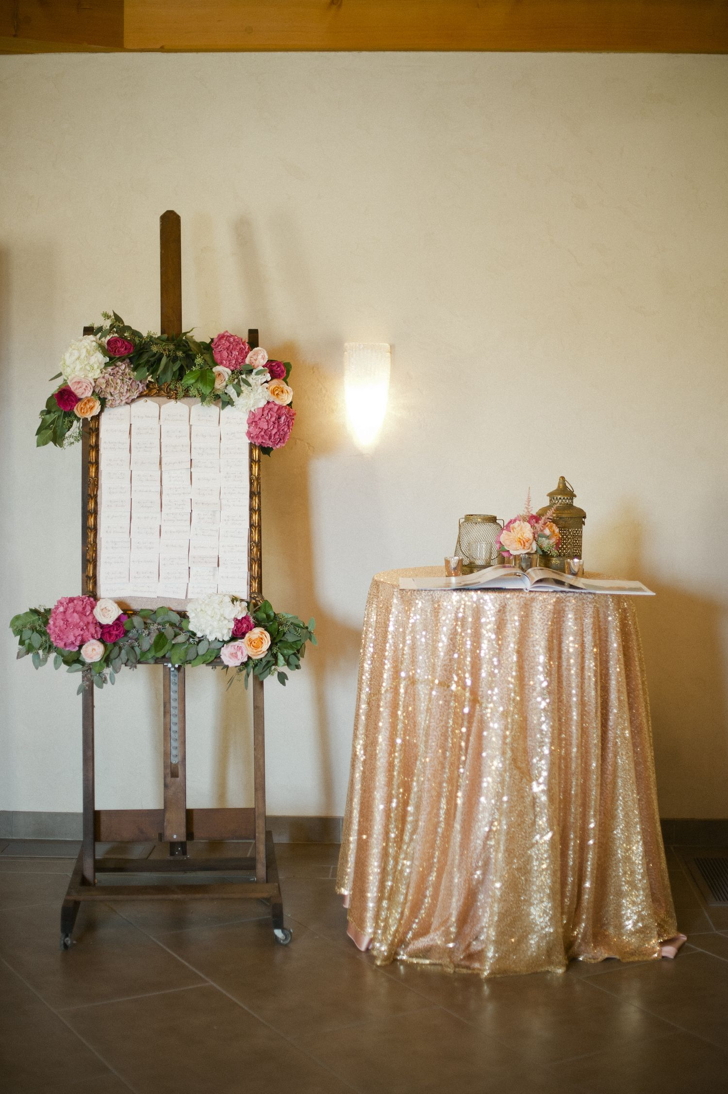 Wedding decorations gold and pink  Wisconsin Glam Vineyard Wedding  Wedding events Vineyard and