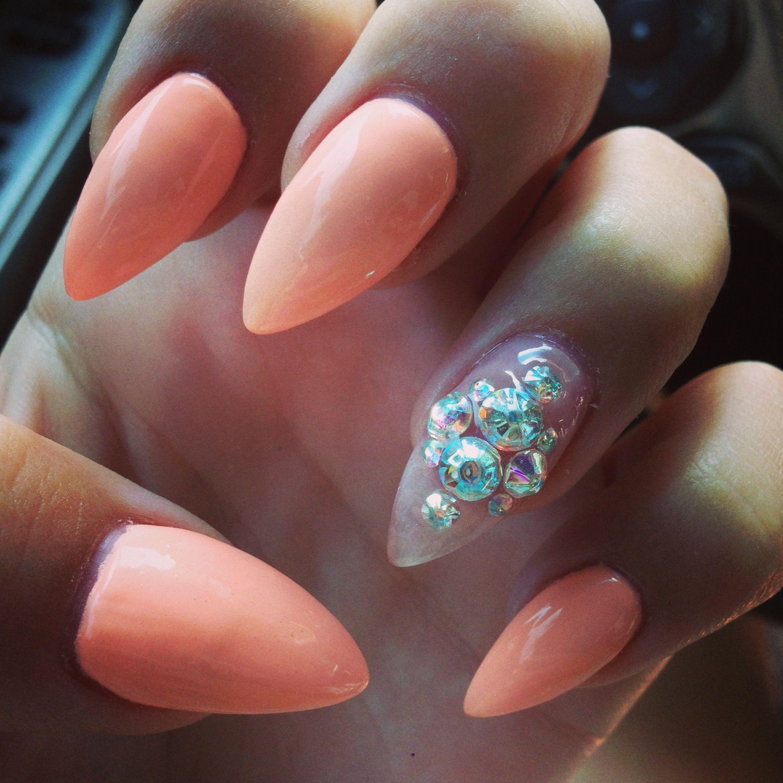 peach stiletto nails nail