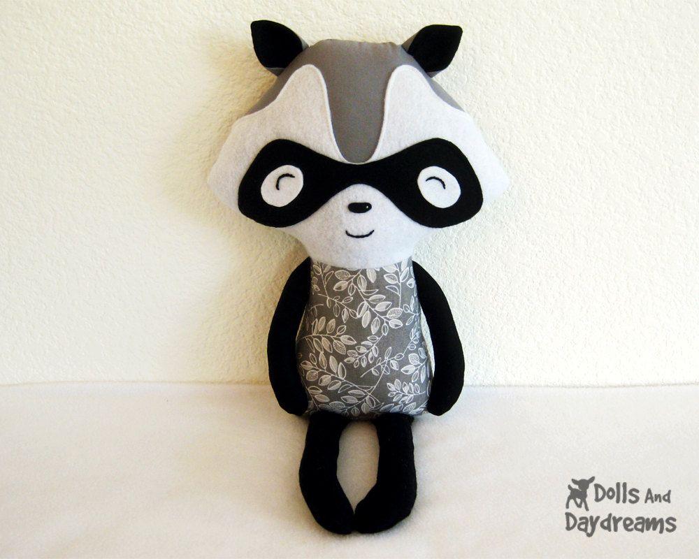 Raccoon Sewing Pattern PDF - Racoon Bandit Softie Stuffed Toy Hug ...