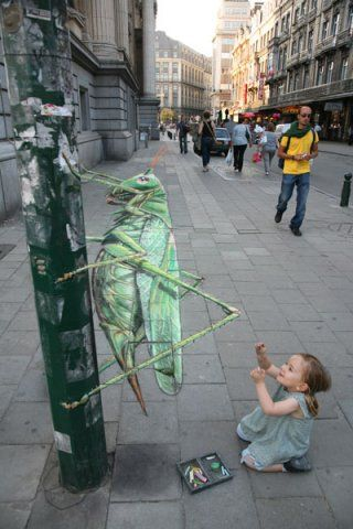 The Great Green Grasshopper lives up to its name. Julian Beever