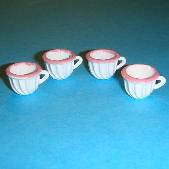 4 Tasses en métal - 786SS2 1/12ème #maisondepoupées #dollhouse #tasses #cups #meuble #furniture #miniature #metal