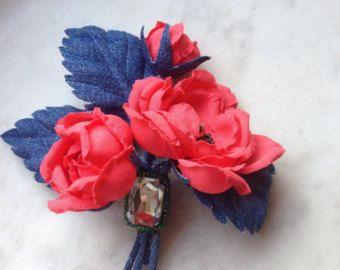 Denim Flowers brooch, coral rose boutonniere, denim wedding Flowers, denim corsage, Cotton handmade flowers brooch, denim rose - Edit Listing - Etsy