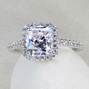3 ct center princess radiant cut nscd sona simulated diamond wedding engagement ring with halo - Silver Diamond Wedding Rings