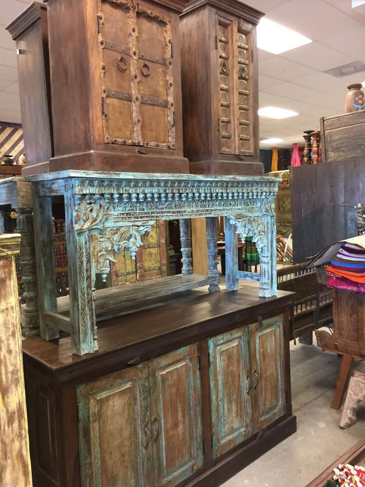Antique Indian Hand Carved Blue Console Hall Table End Sofa Table Rustic Decor Rustic Mogulinterior Hall Table Sofa Table Rustic Decor