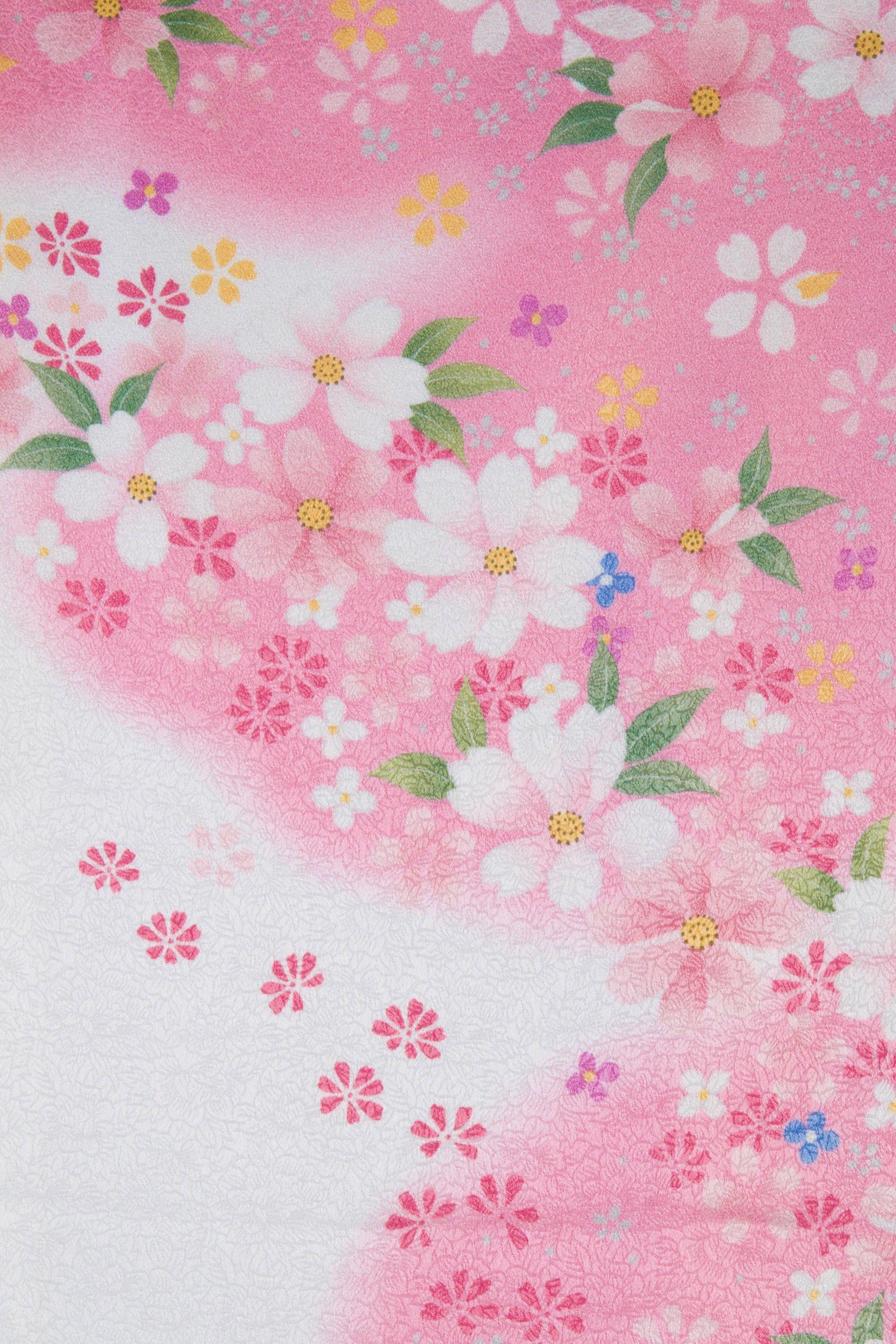 着物 no:817 商品名:白ピンク 小花ちらし | japanese prints