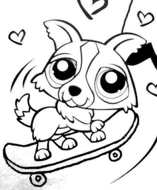 Coloriage petshop chien skatteur pinkie pie - Chiot a colorier ...