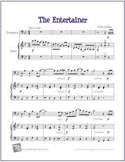 image regarding Free Printable Trombone Sheet Music named The Entertainer (Joplin) Trombone Sheet Audio (Absolutely free