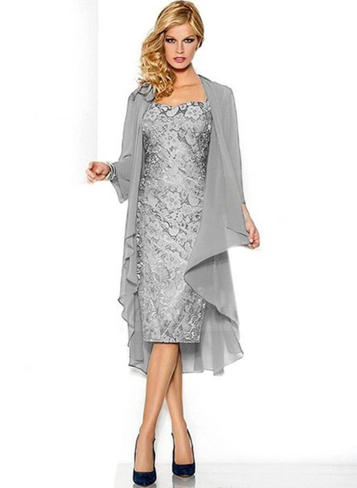 Nitree Lace Chiffon Mother of The Bride Dress Lace Up Gown with Jacket