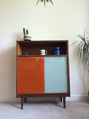 1960s Nathan Teak Sideboard Cabinet Coloured Sliding Glass Doors Danish Vintage
