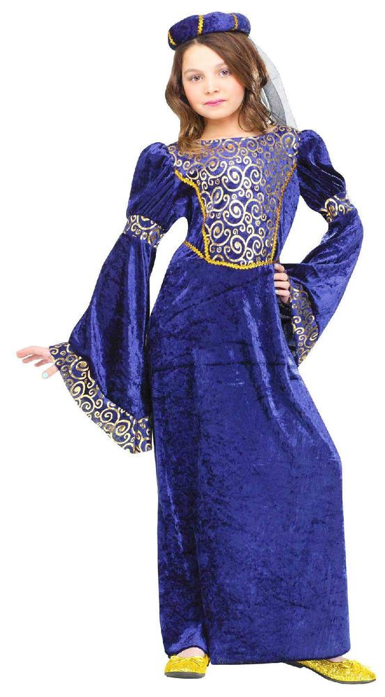 Renaissance Maiden Girl's Costume Medieval Fancy Dress Child Royal Blue Gold New #FunWorld #longvelvetfancydresswithheadpiecerollveil