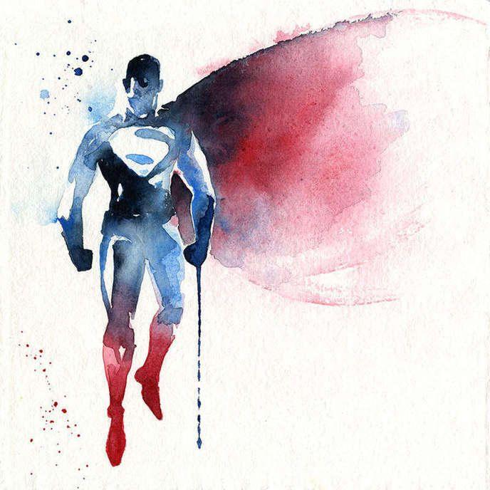 Les Super Heros En Version Peinture A L Eau Aquarelle Avec