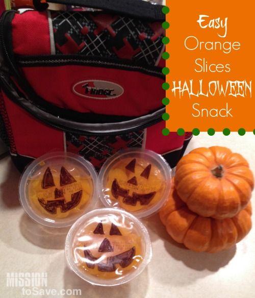 Cute Orange Slices Halloween Snack Idea (Easy Halloween snack - halloween treat ideas for school parties