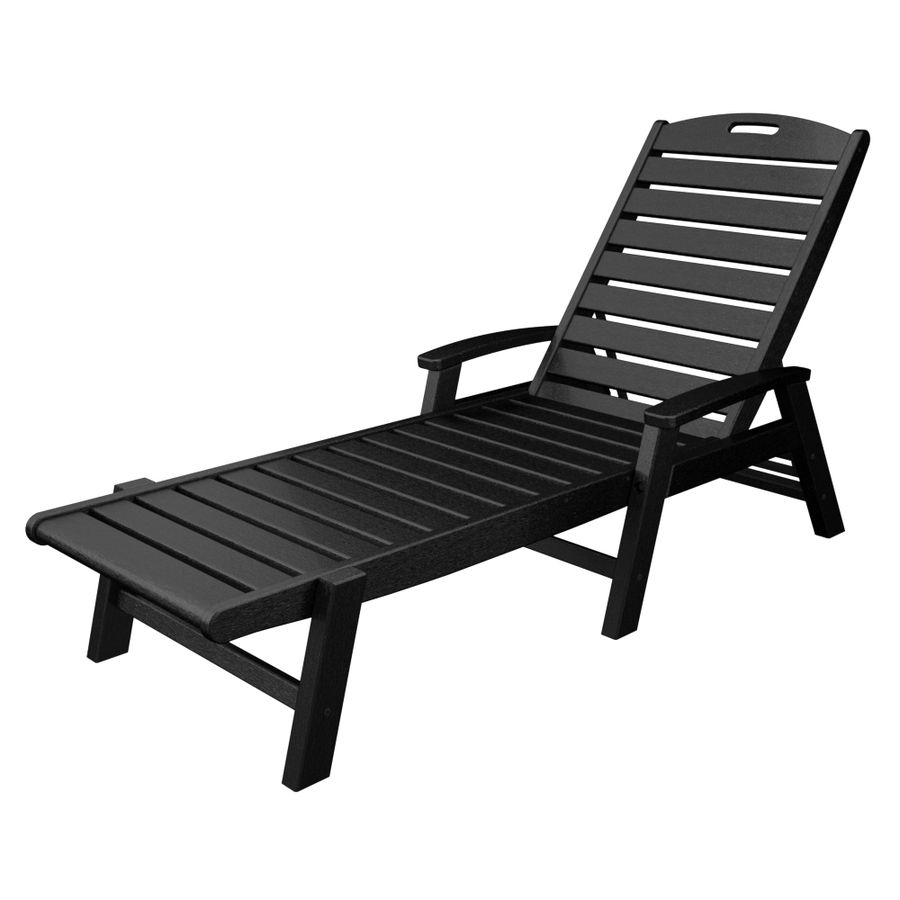 Trex Outdoor Furniture Yacht Club Charcoal Black Plastic Patio Chaise  Lounge Chair