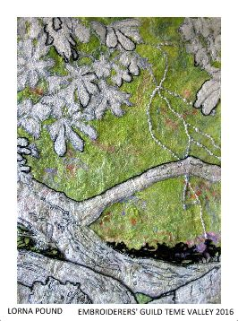 """Piece by Lorna Pound, Teme Valley branch of Embroiderers' Guild.  Part of the """"Landscapes of Capability Brown"""" exhibition at Berrington Hall 19 March - 6 November 2016 showing work based on the landscape and gardens.  Exhibition held as part of the UK's Capability Brown Festival"""