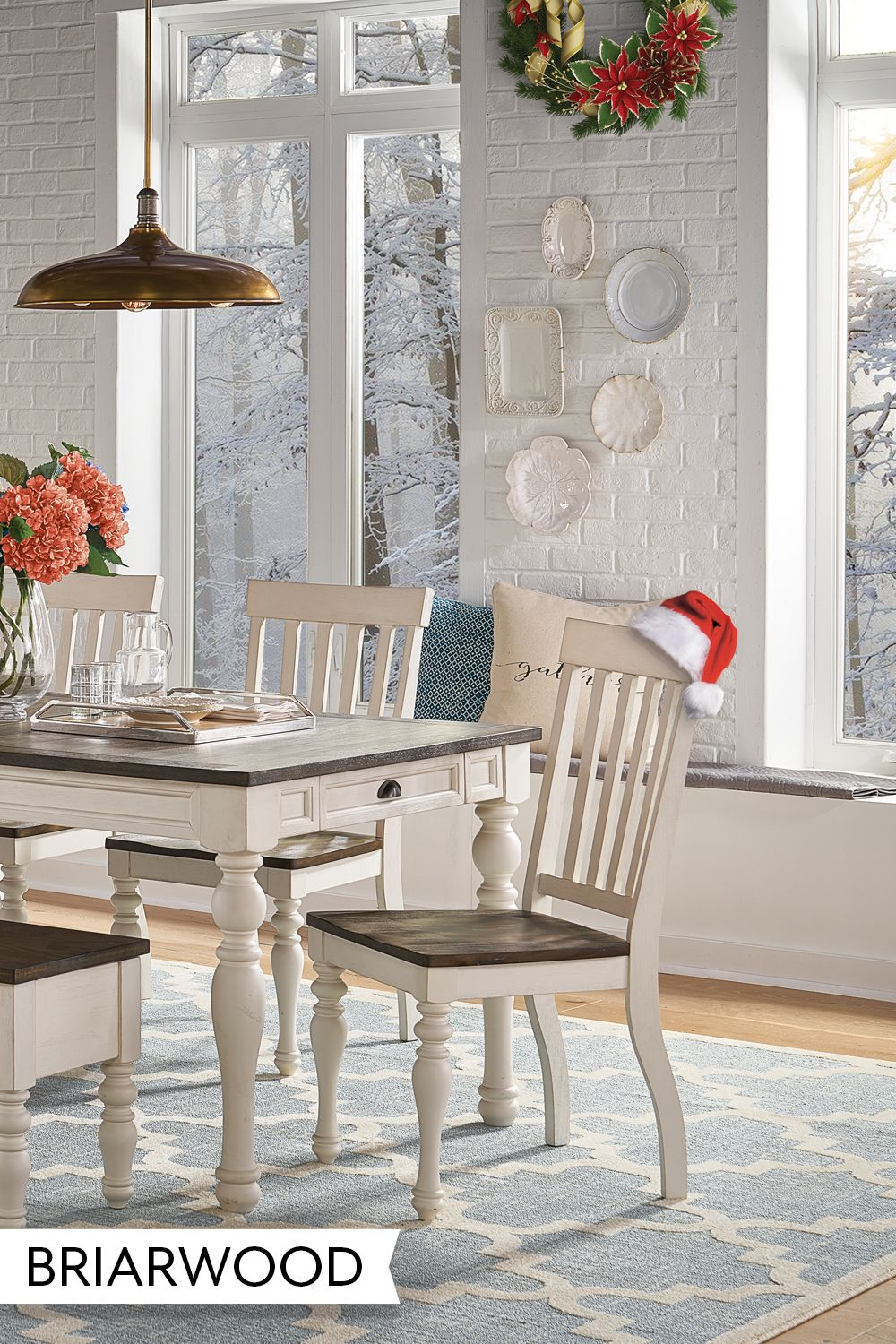 Briarwood 5 Piece Counter Dining Set Farmhouse Style Chairs Home Decor Stylish Seating